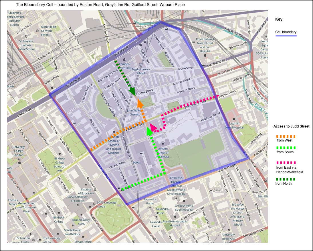 Map 2. The Bloomsbury Cell - showing inbound routes