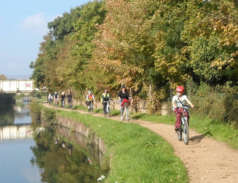 Cycling along Grand Union Canal towpath