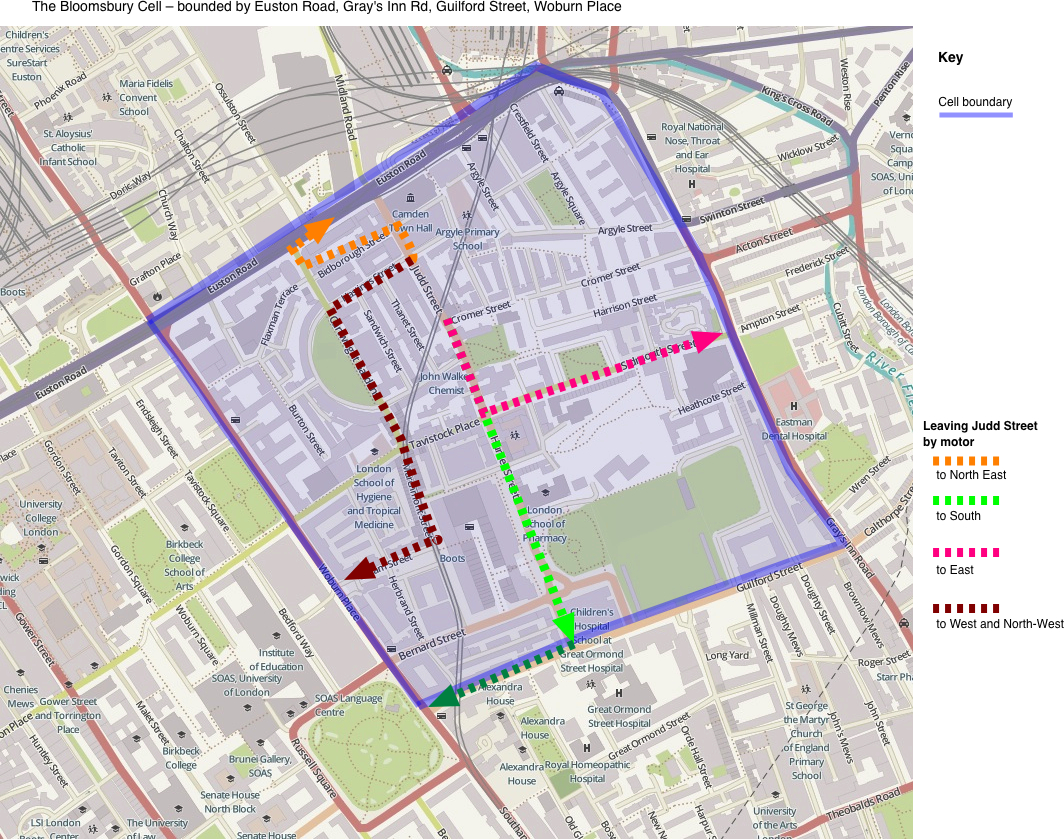 Map 3. Bloomsbury Cell - showing outbound routes